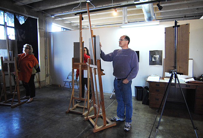 The first floor of Lancaster Lofts is occupied by artists' studios and a classroom.
