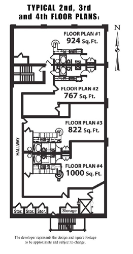 Lancaster Lofts features these four floor plans on the 2nd, 3rd, and 4th floors.